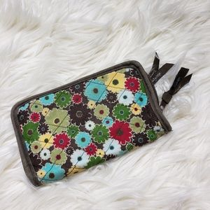 Thirty One Brown Floral Quilted Zip Around Wallet